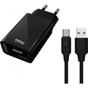 Купить Сетевое зарядное устройство TFN 1А+TypeC цвет чёрный